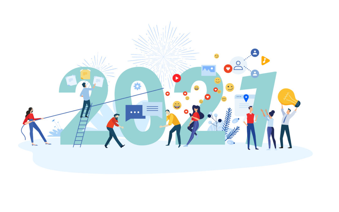 New Year 2021. Vector illustration concept for greeting card, website and mobile website banner, background, business presentation, social media banner, marketing material.